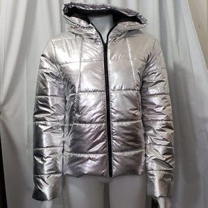 Me Jane Silver Metallic Puffer Jacket NWT